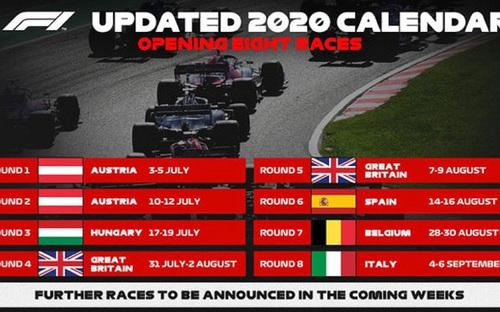 BTC Công thức 1 công bố lịch thi đấu mới mùa giải 2020