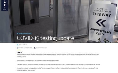 Tottenham xác nhận ca nhiễm Covid-19 đầu tiên