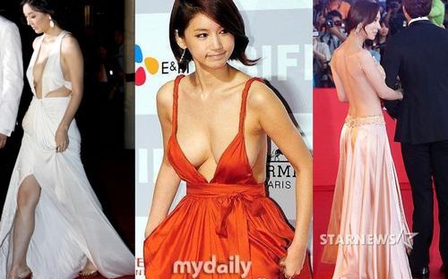 Những bộ váy gây sốc nhất trên thảm đỏ của showbiz Hàn